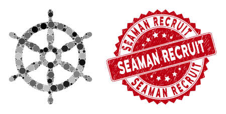 Mosaic ship wheel and grunge stamp seal with Seaman Recruit text. Mosaic vector is designed with ship wheel icon and with random circle elements. Seaman Recruit seal uses red color,