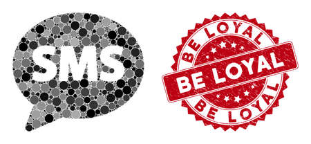 Mosaic SMS balloon and rubber stamp seal with Be Loyal caption. Mosaic vector is composed with SMS balloon icon and with randomized spheric items. Be Loyal stamp seal uses red color, Stockfoto - 134637618