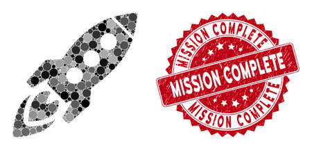 Collage space rocket and distressed stamp seal with Mission Complete phrase. Mosaic vector is composed with space rocket icon and with scattered round spots.