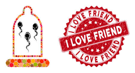 Collage sperm in condom and corroded stamp seal with I Love Friend phrase. Mosaic vector is formed with sperm in condom icon and with random circle spots. I Love Friend stamp seal uses red color, Stockfoto - 134637640