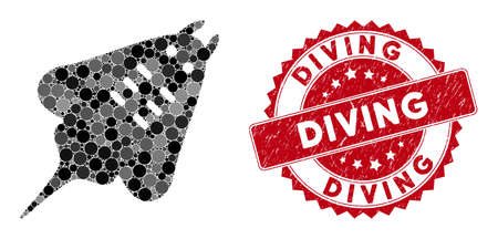 Mosaic stingray fish and grunge stamp seal with Diving text. Mosaic vector is designed with stingray fish icon and with randomized spheric items. Diving stamp seal uses red color, and grunge surface. Stockfoto - 134637668
