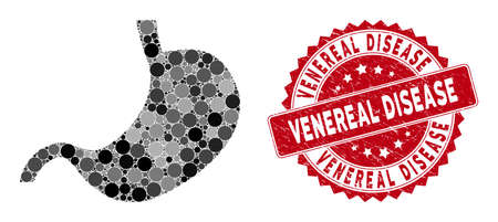 Collage stomach and rubber stamp seal with Venereal Disease text. Mosaic vector is created with stomach icon and with scattered circle items. Venereal Disease stamp seal uses red color, Stockfoto - 134637670