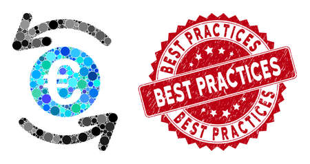 Mosaic update Euro balance and rubber stamp seal with Best Practices phrase. Mosaic vector is composed with update Euro balance icon and with random circle spots. Best Practices stamp uses red color,