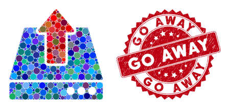 Mosaic upload and corroded stamp seal with Go Away phrase. Mosaic vector is formed with upload icon and with scattered circle items. Go Away stamp seal uses red color, and grunge texture. 向量圖像