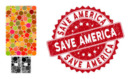 Mosaic USB flash drive and corroded stamp watermark with Save America phrase. Mosaic vector is designed with USB flash drive icon and with scattered round elements. Stockfoto - 134637674