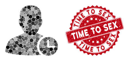 Mosaic user time and rubber stamp seal with Time to Sex caption. Mosaic vector is designed with user time icon and with randomized circle items. Time to Sex stamp seal uses red color,