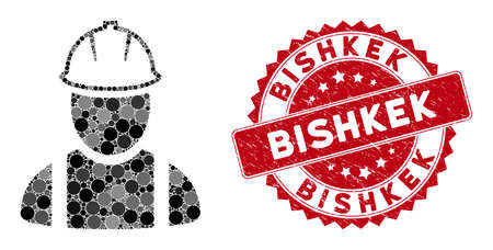Mosaic worker and rubber stamp seal with Bishkek phrase. Mosaic vector is composed with worker icon and with randomized circle spots. Bishkek seal uses red color, and grunge texture. Vektoros illusztráció