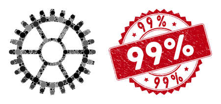 Mosaic clock wheel and corroded stamp watermark with 99% caption. Mosaic vector is composed with clock wheel icon and with randomized circle items. 99% stamp uses red color, and grunged surface.