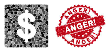 Mosaic financial and corroded stamp seal with Anger! caption. Mosaic vector is designed with financial icon and with randomized spheric items. Anger! stamp seal uses red color, and distress surface. Stockfoto - 134637690