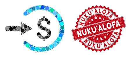 Collage income and corroded stamp seal with NukuAlofa text. Mosaic vector is designed with income icon and with random circle elements. NukuAlofa stamp seal uses red color, and scratched design. Stockfoto - 134637694