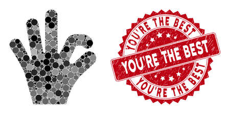 Mosaic OK gesture and rubber stamp seal with YouRe the Best caption. Mosaic vector is composed with OK gesture icon and with random round elements. YouRe the Best stamp seal uses red color, Stockfoto - 134637703