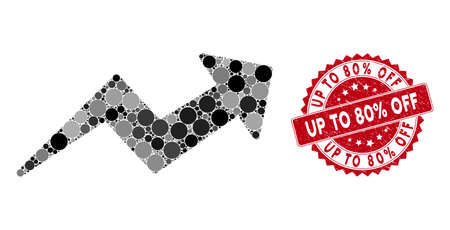 Mosaic trend up arrow and rubber stamp seal with Up to 80% Off text. Mosaic vector is designed with trend up arrow icon and with randomized spheric items. Up to 80% Off stamp seal uses red color, Stockfoto - 134637709