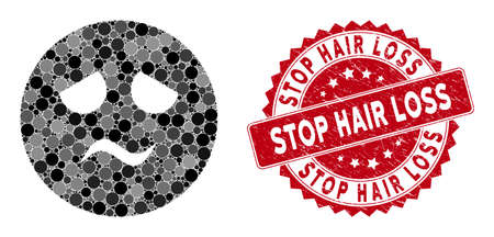 Mosaic trouble smiley and distressed stamp seal with Stop Hair Loss phrase. Mosaic vector is designed with trouble smiley icon and with random spheric spots. Stop Hair Loss stamp seal uses red color,