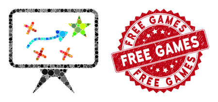 Mosaic strategy and grunge stamp watermark with Free Games phrase. Mosaic vector is created with strategy icon and with randomized spheric spots. Free Games seal uses red color, and grunge texture.