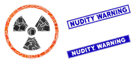 Mosaic radiation danger icon and rectangular Nudity Warning stamps. Flat vector radiation danger mosaic icon of randomized rotated rectangular elements.