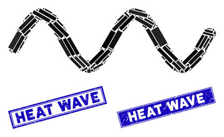 Mosaic wave signal pictogram and rectangular Heat Wave seal stamps. Flat vector wave signal mosaic pictogram of randomized rotated rectangular elements.