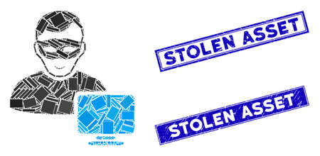 Mosaic computer hacker icon and rectangular Stolen Asset seal stamps. Flat vector computer hacker mosaic icon of randomized rotated rectangle elements.