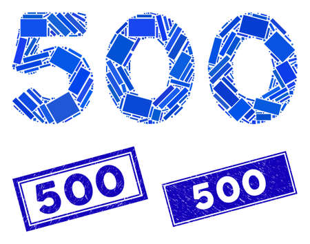 Mosaic 500 digits text pictogram and rectangular 500 seal stamps. Flat vector 500 digits text mosaic icon of randomized rotated rectangular items. Blue 500 seal stamps with grunged textures. Illusztráció