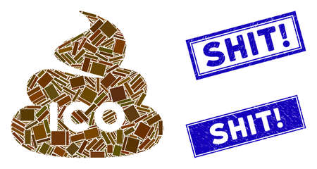 Mosaic ICO shit pictogram and rectangular Shit! stamps. Flat vector ICO shit mosaic pictogram of scattered rotated rectangular items. Blue Shit! rubber stamps with rubber textures.
