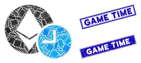 Mosaic Ethereum credit clock icon and rectangular Game Time seal stamps. Flat vector Ethereum credit clock mosaic pictogram of scattered rotated rectangular elements. Vektoros illusztráció