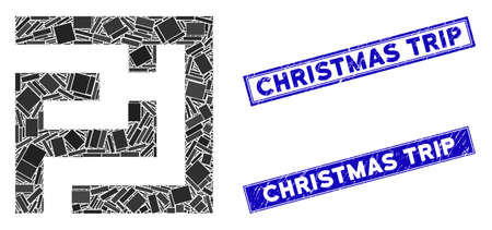 Mosaic labyrinth icon and rectangle Christmas Trip seal stamps. Flat vector labyrinth mosaic pictogram of randomized rotated rectangle items. Blue Christmas Trip rubber stamps with grunge surface.