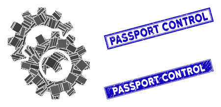 Mosaic gears pictogram and rectangular Passport Control seals. Flat vector gears mosaic icon of random rotated rectangular items. Blue Passport Control rubber seals with rubber surface.