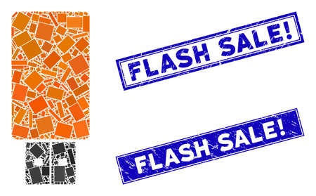 Mosaic USB flash drive icon and rectangular Flash Sale! seal stamps. Flat vector USB flash drive mosaic icon of random rotated rectangular elements. Blue Flash Sale! seal stamps with rubber textures. Ilustración de vector