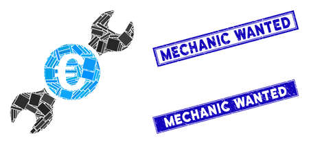 Mosaic Euro wrench pictogram and rectangular Mechanic Wanted stamps. Flat vector Euro wrench mosaic pictogram of random rotated rectangular items. Ilustrace