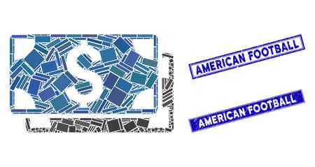 Mosaic dollar banknotes pictogram and rectangle American Football seals. Flat vector dollar banknotes mosaic pictogram of random rotated rectangle elements. Illustration