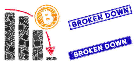 Mosaic Bitcoin epic fail chart pictogram and rectangle Broken Down seals. Flat vector Bitcoin epic fail chart mosaic icon of randomized rotated rectangle items.
