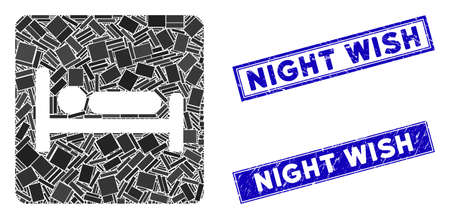 Mosaic motel bed icon and rectangular Night Wish seal stamps. Flat vector motel bed mosaic pictogram of randomized rotated rectangle items. Blue Night Wish seal stamps with distress textures.