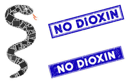 Mosaic snake pictogram and rectangular No Dioxin seal stamps. Flat vector snake mosaic pictogram of randomized rotated rectangular elements. Blue No Dioxin rubber stamps with grunge texture. Illustration