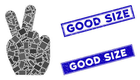 Mosaic victory gesture pictogram and rectangular Good Size seal stamps. Flat vector victory gesture mosaic pictogram of random rotated rectangle elements. Ilustrace