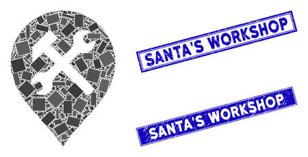Mosaic workshop map marker icon and rectangular SantaS Workshop rubber prints. Flat vector workshop map marker mosaic icon of random rotated rectangular items.