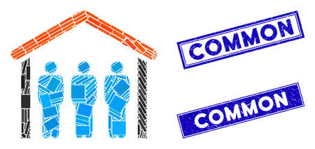 Mosaic people under roof icon and rectangle Common stamps. Flat vector people under roof mosaic icon of scattered rotated rectangle items. Blue Common rubber stamps with grunge surface. Ilustrace