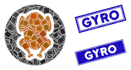 Mosaic chicken dish icon and rectangular Gyro watermarks. Flat vector chicken dish mosaic pictogram of random rotated rectangular items. Blue Gyro watermarks with dirty texture. Stockfoto - 134636111