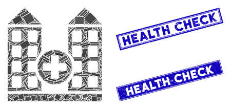 Mosaic hospital pictogram and rectangle Health Check rubber prints. Flat vector hospital mosaic icon of randomized rotated rectangle items. Blue Health Check rubber seals with distress textures. Stockfoto - 134636118