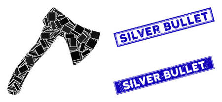 Mosaic hatchet pictogram and rectangular Silver Bullet stamps. Flat vector hatchet mosaic pictogram of scattered rotated rectangular items. Blue Silver Bullet stamps with corroded surface. Stockfoto - 134636422
