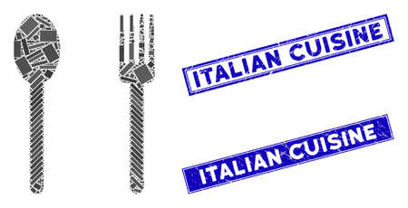Mosaic fork and spoon icon and rectangle Italian Cuisine stamps. Flat vector fork and spoon mosaic pictogram of scattered rotated rectangle elements. Stockfoto - 134636584