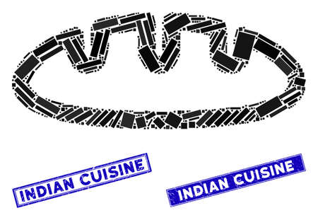 Mosaic bread pictogram and rectangle Indian Cuisine seals. Flat vector bread mosaic pictogram of random rotated rectangle items. Blue Indian Cuisine rubber seals with grunge texture. Stockfoto - 134636884