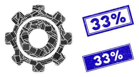 Mosaic cog pictogram and rectangular 33% seal stamps. Flat vector cog mosaic pictogram of scattered rotated rectangle elements. Blue 33% rubber stamps with distress textures.