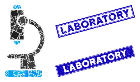 Mosaic microscope pictogram and rectangle Laboratory seals. Flat vector microscope mosaic icon of scattered rotated rectangular items. Blue Laboratory rubber seals with rubber texture. Stockfoto - 134636912