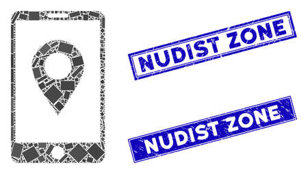Mosaic mobile GPS icon and rectangle Nudist Zone seal stamps. Flat vector mobile GPS mosaic icon of randomized rotated rectangle elements. Blue Nudist Zone seal stamps with corroded textures.