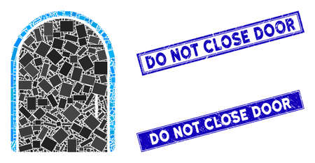 Mosaic door icon and rectangle Do Not Close Door stamps. Flat vector door mosaic icon of scattered rotated rectangle items. Blue Do Not Close Door seal stamps with scratched textures. Stockfoto - 134636964