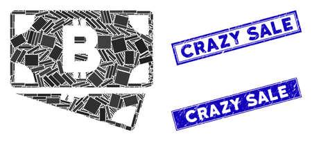 Mosaic Bitcoin cash banknotes pictogram and rectangular Crazy Sale stamps. Flat vector Bitcoin cash banknotes mosaic pictogram of randomized rotated rectangular elements. Stockfoto - 134637088