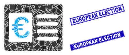 Mosaic euro bank account icon and rectangular European Election rubber prints. Flat vector euro bank account mosaic icon of scattered rotated rectangular items. Stockfoto - 134637105