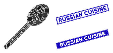 Mosaic spoon pictogram and rectangular Russian Cuisine seals. Flat vector spoon mosaic pictogram of scattered rotated rectangular elements. Blue Russian Cuisine seals with grunge textures.