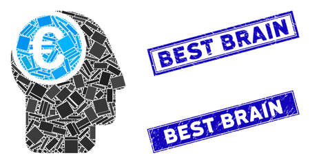 Mosaic euro mind pictogram and rectangular Best Brain rubber prints. Flat vector euro mind mosaic pictogram of randomized rotated rectangular items. Blue Best Brain rubber stamps with grunge textures. Stockfoto - 134637115