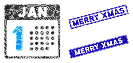 Mosaic January first icon and rectangle Merry Xmas stamps. Flat vector January first mosaic icon of randomized rotated rectangle elements. Blue Merry Xmas seal stamps with grunge textures. Stockfoto - 134637129