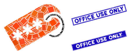 Mosaic secret tag pictogram and rectangular Office Use Only stamps. Flat vector secret tag mosaic pictogram of scattered rotated rectangular elements.